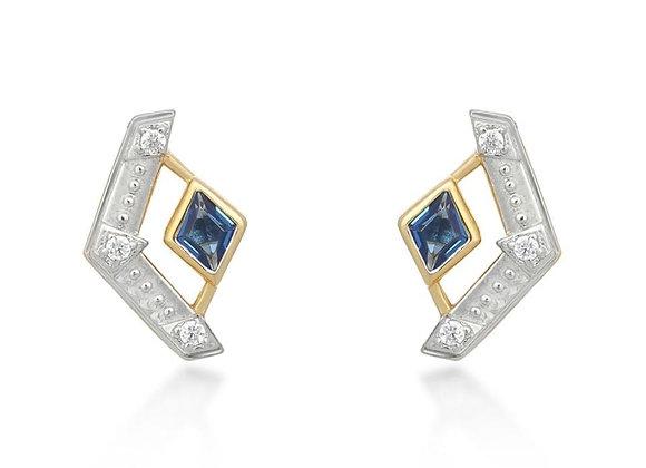 Esme Gold Earrings in Blue
