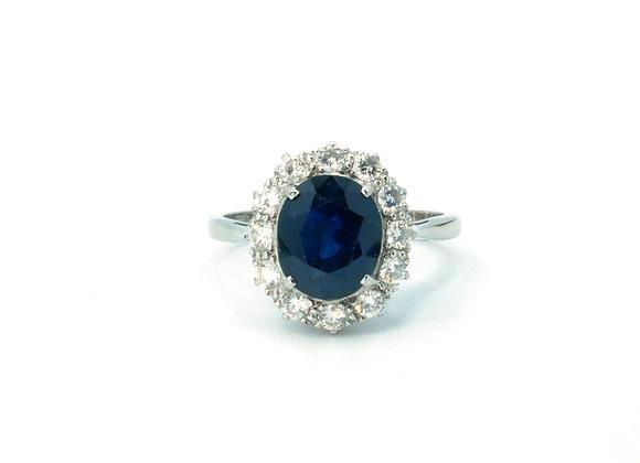 18ct & Platinum Sapphire & Diamond Cluster Ring