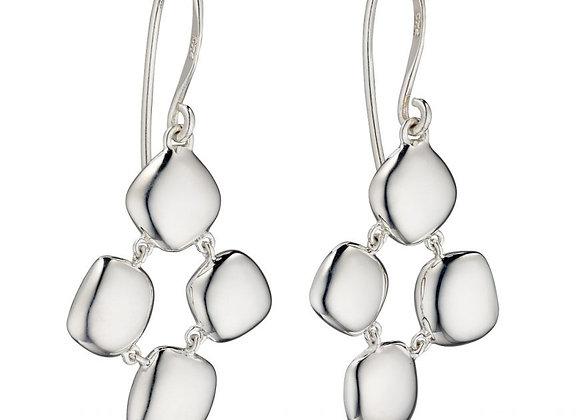 Silver Organic Pebble Drop Earrings
