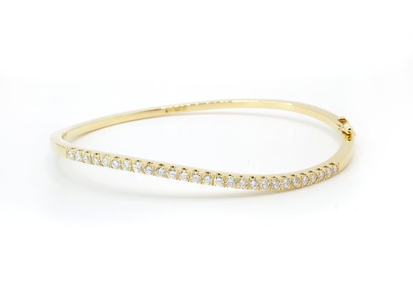 18ct 0.78cts Diamond Wave Bangle