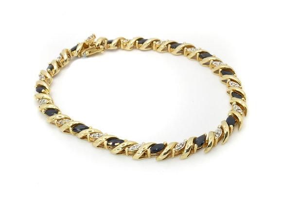 10ct Marquise Sapphire & Diamond Bracelet