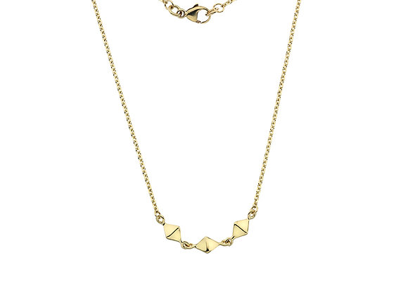 9ct Yellow Gold Triple Pyramid Necklace