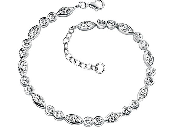 Silver Round & Marquise Cubic Zirconia Bracelet