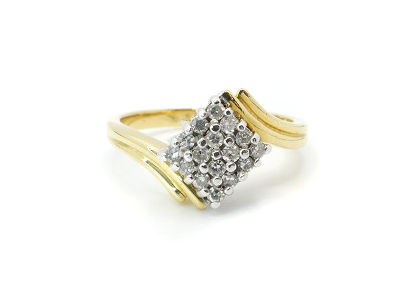 18ct Diamond Square Cluster Ring