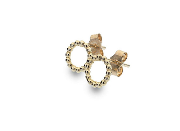 9ct Yellow Gold Beaded Circle Stud Earrings
