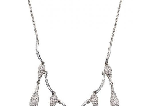 Silver Cubic Zirconia Droplet Necklace