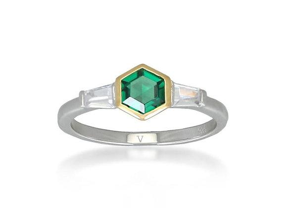Darcy Silver & Gold Ring InGreen