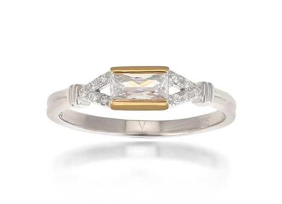 Agata Silver & Gold Baguette Ring