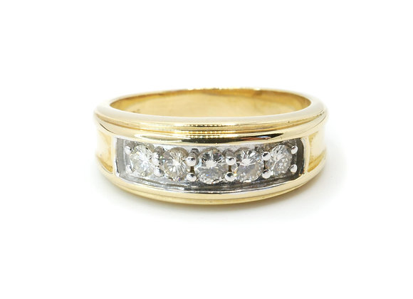 14ct Five Stone 0.40ct Diamond Band
