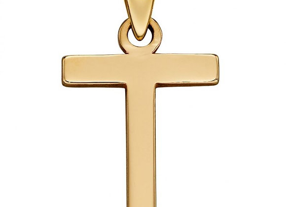 9ct Yellow Gold Letter 'T' Initial Pendant