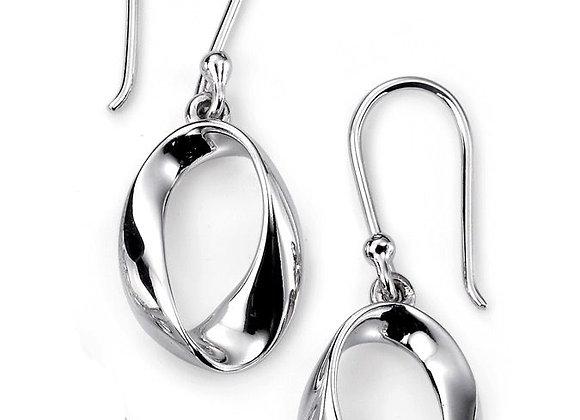 Silver Twisted Oval Drop Earrings