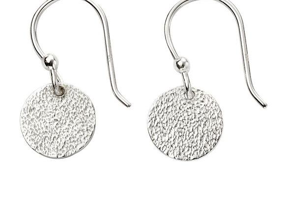 Silver Textured Disc Drop Earrings