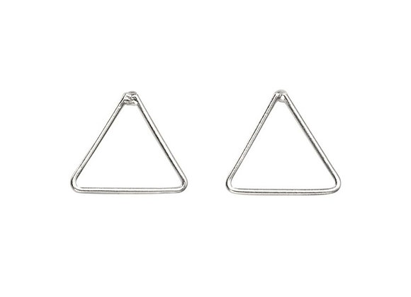 Silver Mini Triangle Stud Earrings