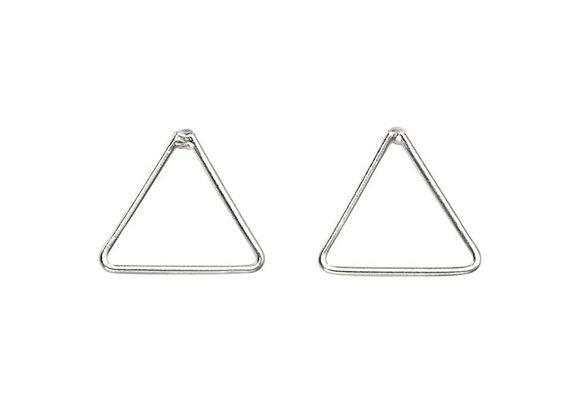 Silver Mini Triangle Stud Earrings