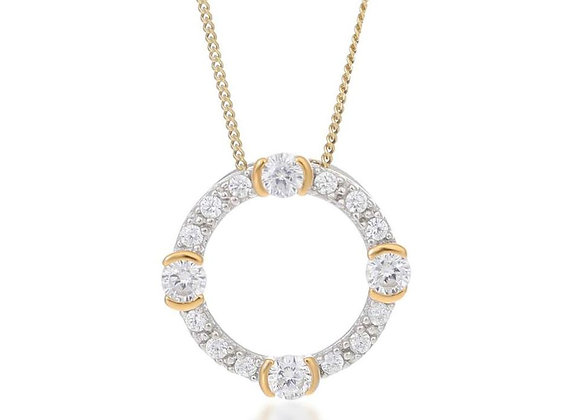 Luna Silver & Gold Circle Necklace