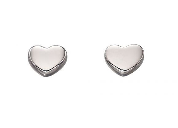 9ct White Gold Heart Button Earrings