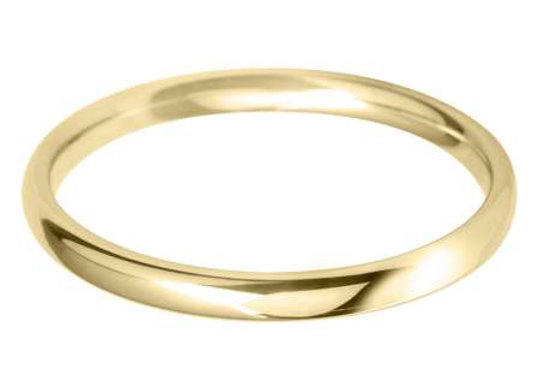 18ct Gold 2mm Court Shape Wedding Ring