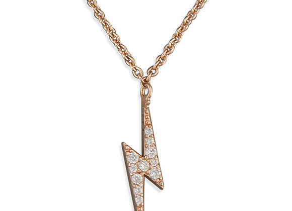 Rose Gold Silver Cubic Zirconia Lightning Bolt Necklace