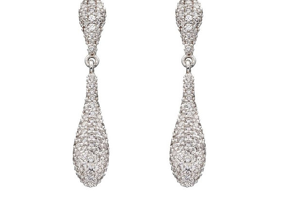 Silver Cubic Zirconia Droplet Earrings