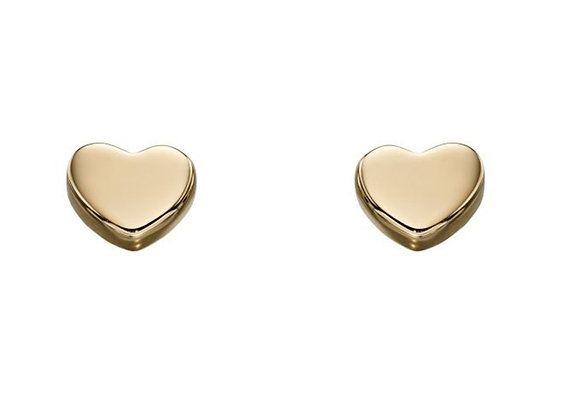 9ct Yellow Gold Heart Button Earrings