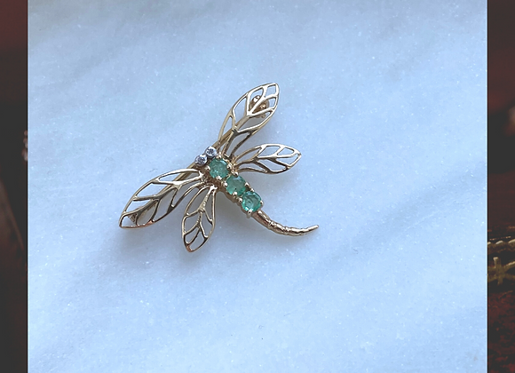 9ct Emerald & Diamond Brooch