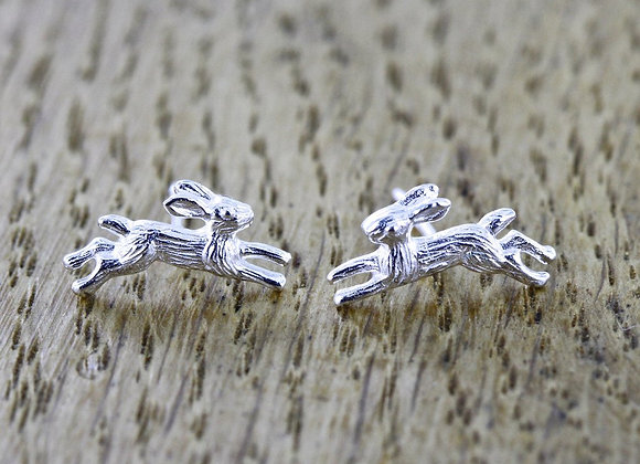 Silver Jumping Hare Earrings