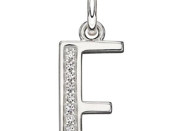 Letter 'E' Cubic Zirconia Initial Pendant