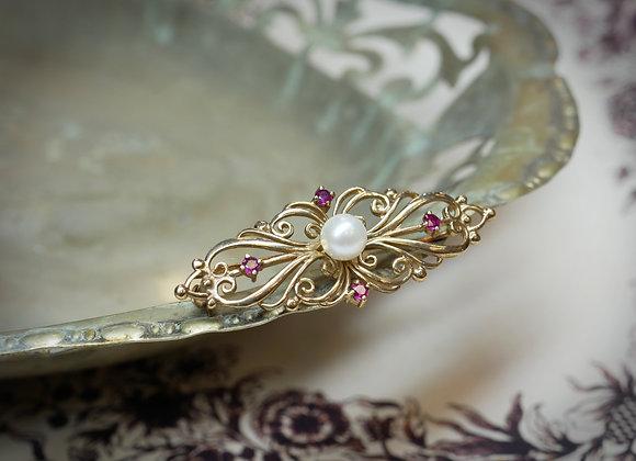 Ruby & Cultured Pearl Brooch