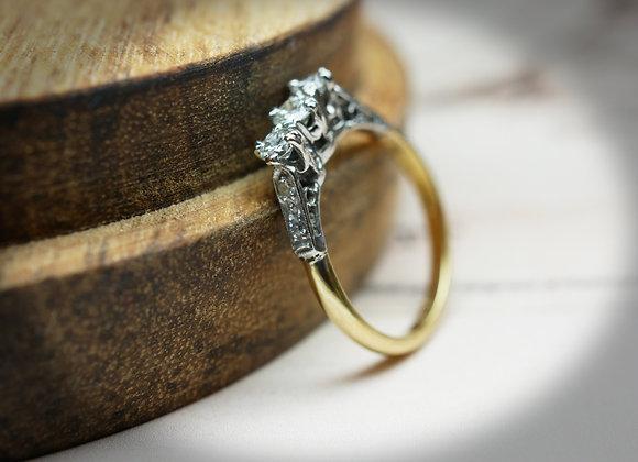 Double Claw Vintage Diamond Three Stone Ring