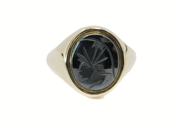 9ct Heamatite Signet Ring