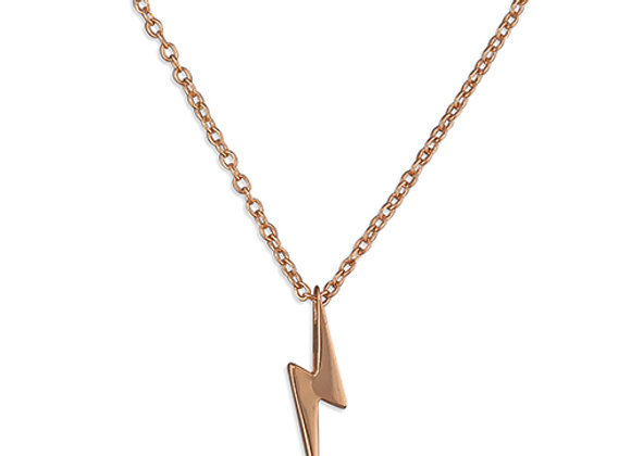Rose Gold Plated Silver Lightning Bolt Necklace