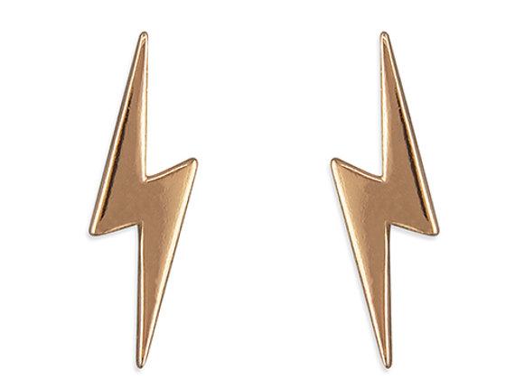 Rose Gold Plated Silver Lightning Bolt Studs