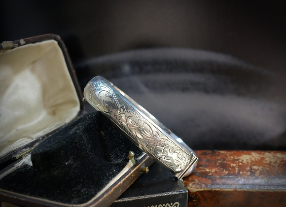 Engraved Vintage Silver Cuff