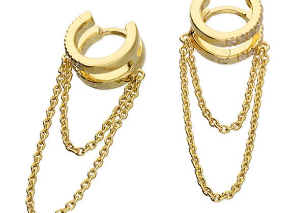 Gold Plated Silver Cubic Zirconia 10mm Double Hoop Chained Earrings