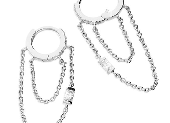 Silver Baguette Cubic Zirconia 10mm Double Hoop Chained Earrings