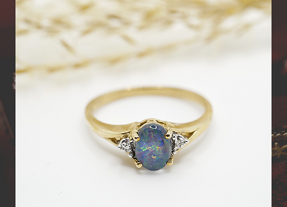 9ct Black Opal & Diamond ring