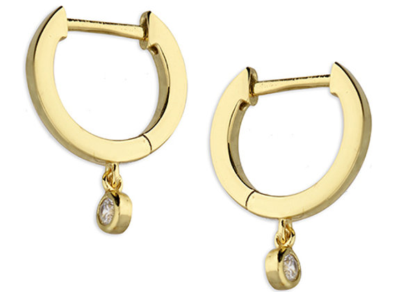 Gold Plated Silver 11m Cubic Zirconia Drop Earrings