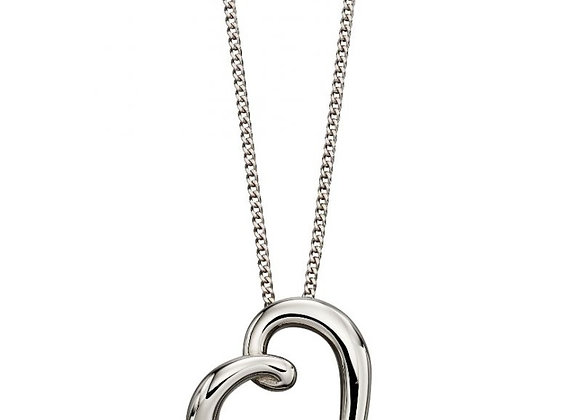 9ct White Gold Elegant Heart Pendant