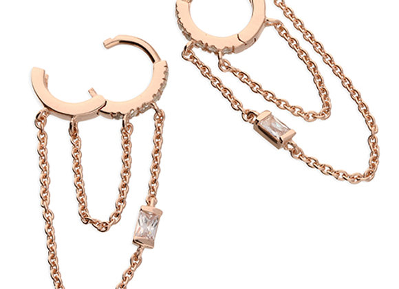Rose Gold Plated Silver Baguette Cubic Zirconia 10mm Double Hoop Chained Earr