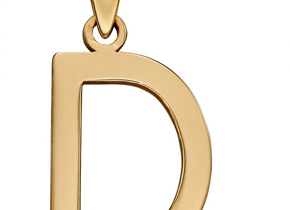 9ct Yellow Gold Letter 'D' Initial Pendant