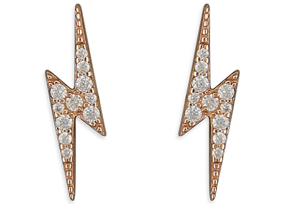 Rose Gold Plated Cubic Zirconia Silver Lightning Bolt Studs