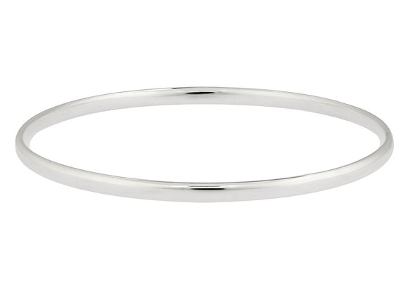 Silver 3.5mm Wide Plain Bangle