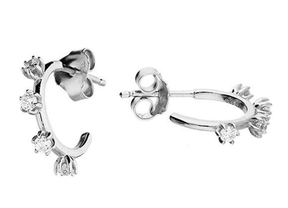 Silver Cubic Zirconia 11mm Half Hoop Earrings