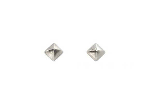 Silver Mini Pyramid Stud Earrings