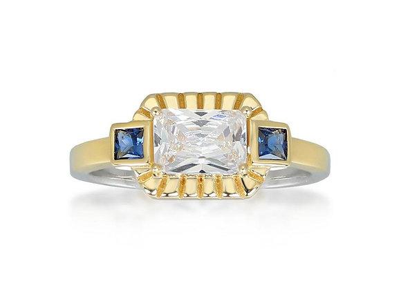 Etta Silver & Gold Ring In Blue