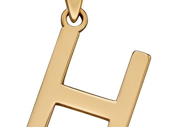 9ct Yellow Gold Letter 'H' Initial Pendant