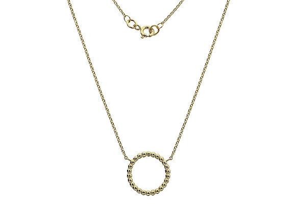 9ct Yellow Gold Beaded Circle Pendant