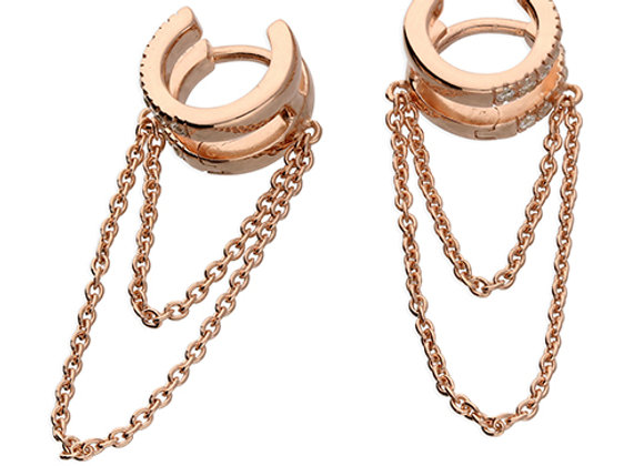 Rose Gold Plated Silver Cubic Zirconia 10mm Double Hoop Chained Earrings