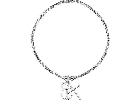 Love, Faith, Hope Silver Bracelet