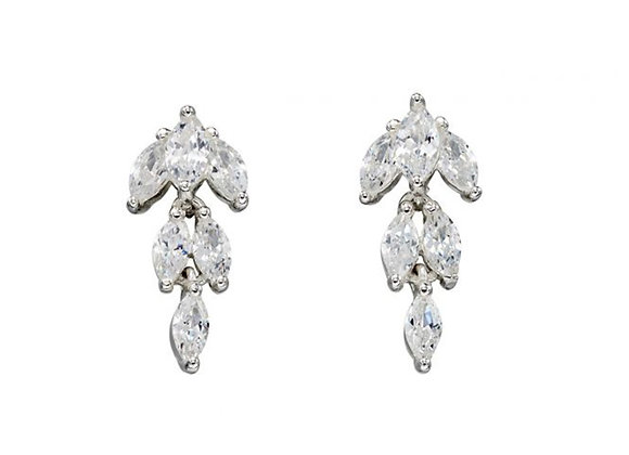 Silver Marquise Cubic Zirconia Drop Earrings